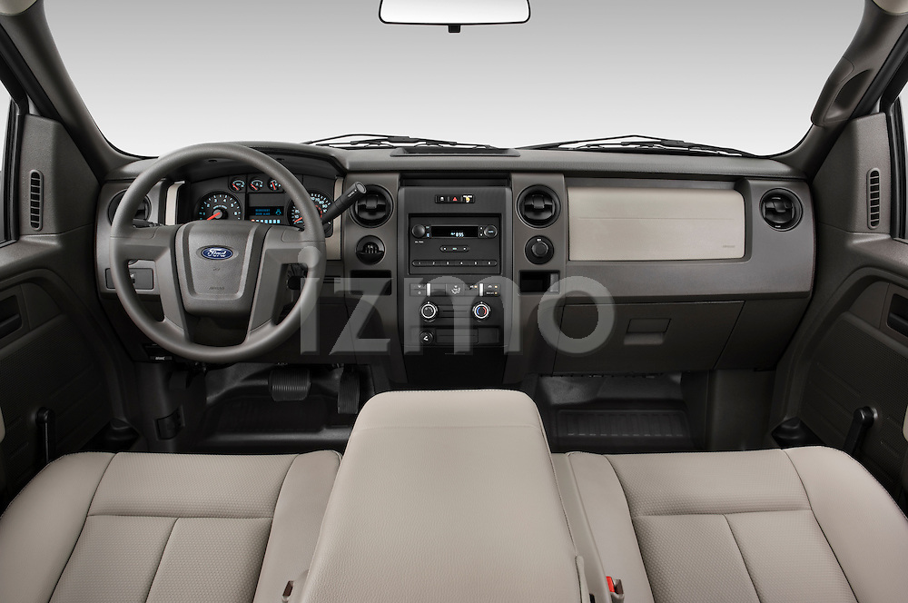Straight dashboard view of a 2009 Ford F150 XL Super Cab.