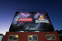 The big screen during the 2019 Super Rugby final between the Crusaders and Jaguares at Orangetheory Stadium in Christchurch, New Zealand on Saturday, 6 July 2019. Photo: Dave Lintott / lintottphoto.co.nz