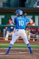 Moises Perez (10) of the Ogden Raptors bats during a game against the Idaho Falls Chukars at Lindquist Field on August 29, 2018 in Ogden, Utah. Idaho Falls defeated Ogden 15-6. (Stephen Smith/Four Seam Images)