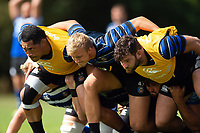 Anthony Perenise, Jack Walker and Nathan Catt of Bath Rugby in action. Bath Rugby pre-season training on August 8, 2018 at Farleigh House in Bath, England. Photo by: Patrick Khachfe / Onside Images