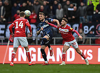 Bristol City's Matty Taylor (left) battles with Leeds United's Liam Cooper (right) <br /> <br /> Photographer David Horton/CameraSport<br /> <br /> The EFL Sky Bet Championship - Bristol City v Leeds United - Saturday 9th March 2019 - Ashton Gate Stadium - Bristol<br /> <br /> World Copyright © 2019 CameraSport. All rights reserved. 43 Linden Ave. Countesthorpe. Leicester. England. LE8 5PG - Tel: +44 (0) 116 277 4147 - admin@camerasport.com - www.camerasport.com
