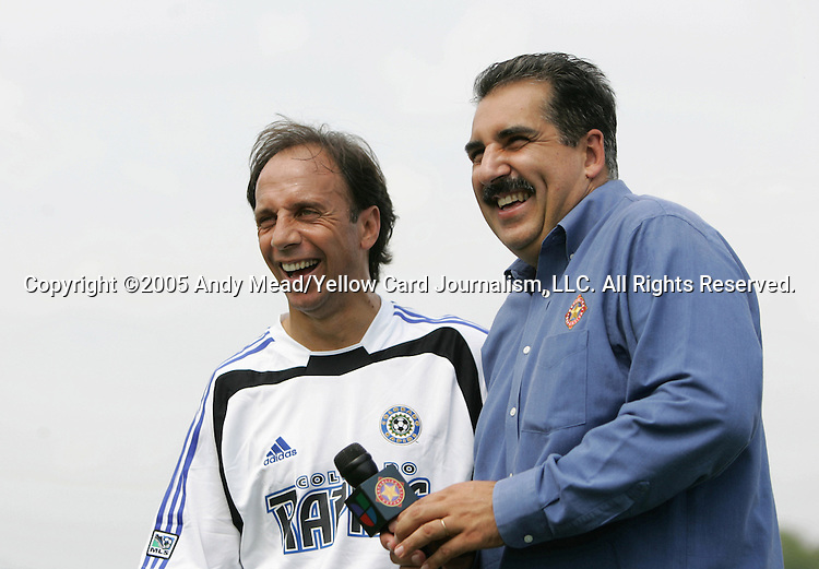Fernando Clavijo (l), 2005 Hall of Fame inductee, is interviewed at halftime by Univision's Fernando Fiore (r) on Monday, August 29, 2005, in the Hall of Fame game played after the 2005 National Soccer Hall of Fame Induction Ceremony in Oneonta, New York. The Colorado Rapids defeated DC United 6-2.