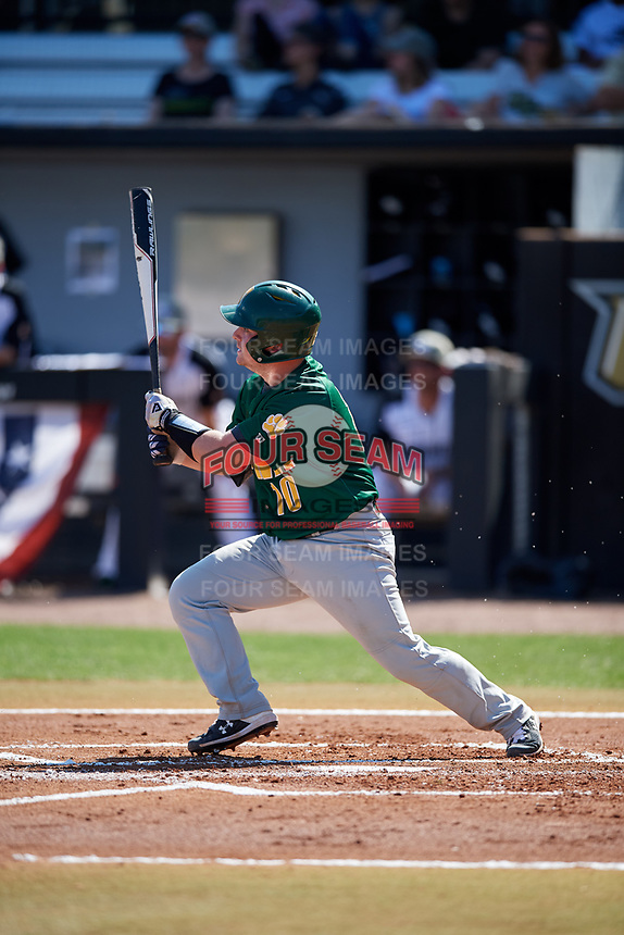 Siena Saints catcher Alex Milone (10) follows through on a swing during a game against the UCF Knights on February 17, 2019 at John Euliano Park in Orlando, Florida.  UCF defeated Siena 7-1.  (Mike Janes/Four Seam Images)
