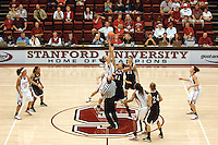 3 November 2007: Kayla Pedersen jumps for the tip during Stanford's 95-44 exhibition win over Chico State at Maples Pavilion in Stanford, CA. Also pictured are Rosalyn Gold-Onwude, Candice Wiggins and Jillian Harmon.