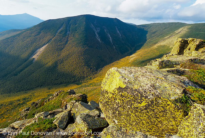 Looking across Hellgate Ravine at West Bond from the summit of Bondcliff in the Pemigewasset Wilderness in the New Hampshire White Mountains. This area was logged during the East Branch & Lincoln Railroad era (1893-1948).