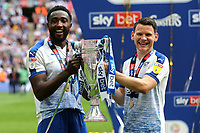 Emmanuel Monthe and Connor Jennings celebrate Tranmere's victory and promotion to Division One during Newport County vs Tranmere Rovers, Sky Bet EFL League 2 Play-Off Final Football at Wembley Stadium on 25th May 2019