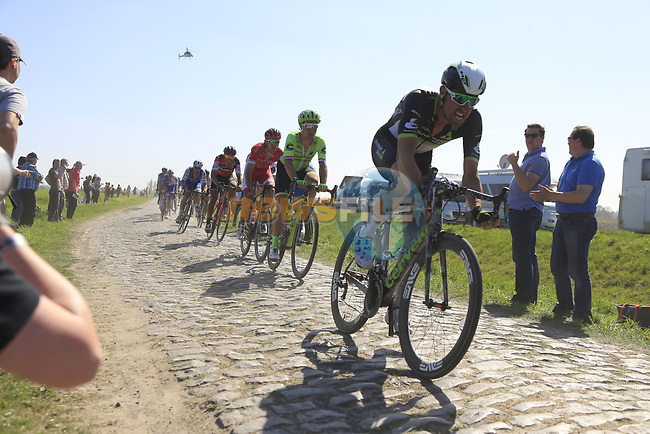 The peloton including Bernhard Eisel (AUT) Team Dimension Data on pave sector 17 Hornaing a Windignies during the 115th edition of the Paris-Roubaix 2017 race running 257km Compiegne to Roubaix, France. 9th April 2017.<br /> Picture: Eoin Clarke | Cyclefile<br /> <br /> <br /> All photos usage must carry mandatory copyright credit (&copy; Cyclefile | Eoin Clarke)