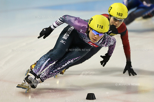 (L to R) Yui Sakai (JPN), Biba Sakurai (JPN), .January 27, 2013 - Short Track Skating : .The 68th Winter National Sports Festival, .Short Track Skating Women's 1000 .at Edogawa Sport Land, Tokyo, Japan. .(Photo by Daiju Kitamura/AFLO SPORT)