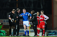 Andrew Cannon of Rochdale tries to get up after collision with Jack Sowerby of Fleetwood Town but is later stretchered off during the Sky Bet League 1 match between Rochdale and Fleetwood Town at Spotland Stadium, Rochdale, England on 20 March 2018. Photo by Thomas Gadd.