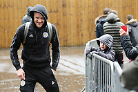 Leicester City's Jamie Vardy greets the waiting fans as he arrives at Turf Moor ahead of kick-off<br /> <br /> Photographer Rich Linley/CameraSport<br /> <br /> The Premier League - Burnley v Leicester City - Saturday 16th March 2019 - Turf Moor - Burnley<br /> <br /> World Copyright © 2019 CameraSport. All rights reserved. 43 Linden Ave. Countesthorpe. Leicester. England. LE8 5PG - Tel: +44 (0) 116 277 4147 - admin@camerasport.com - www.camerasport.com