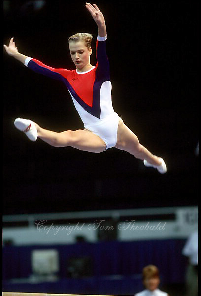 July 25, 1998; New York, NY, USA; Artistic gymnast Svetlana Khorkina of Russia performs balance beam at 1998  Goodwill Games New York. Copyright 1998 Tom Theobald