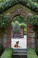 Ruby, the Boxer, keeps an eye on the garden from her vantage point at the top of a set of steps leading through a brick archway