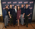 Brandon James Ellis, Joe Carroll, Corey Cott, Laura Osnes, Geoff Packard and James Nathan Hopkins attend the 'Bandstand' Broadway cast photo call at the Rainbow Room on March 7, 2017 in New York City.