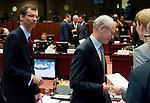 Brussels-Belgium - June 29, 2012 -- European Council, EU-summit meeting of Heads of State / Government; here, Uwe CORSEPIUS (le), Secretary-General of the EU-Council; Herman Van ROMPUY (ri), President of the European Council -- Photo: © HorstWagner.eu