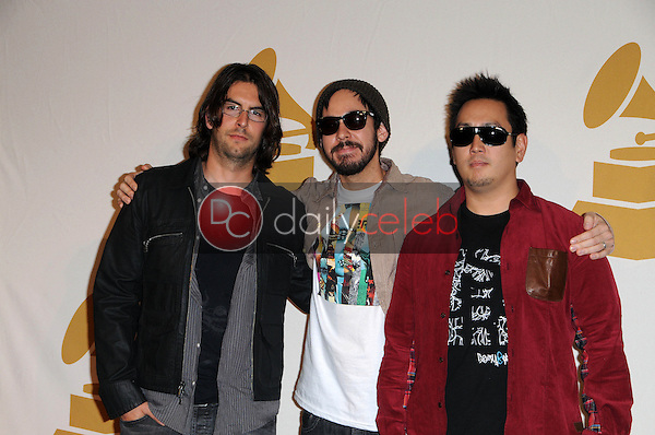 Rob Bourdon, Mike Shinoda and Joe Hahn of Linkin Park <br />
