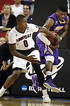 Louisville's Terry Rozier 0) has the ball ripped away by Northern Iowa State's Wes Washpun (11)  during the 2015 NCAA Division I Men's Basketball Championship's March 22, 2015 at the Key Arena in Seattle, Washington.  Louisville beat Northern Iowa State 66-53 to advance to the Sweet 16.  ©2015. Jim Bryant Photo. ALL RIGHTS RESERVED.