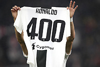 Calcio, Serie A: Juventus - Caglairi, Turin, Allianz Stadium, November 3, 2018.<br /> Juventus' Cristiano Ronaldo shows the celebrative jersey &quot;400&quot; goals prior to the Italian Serie A football match between Juventus and Cagliari at Torino's Allianz stadium, November 3, 2018.<br /> UPDATE IMAGES PRESS/Isabella Bonotto