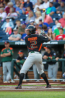 Ricky Eusebio (2) of the Miami Hurricanes bats during a game between the Miami Hurricanes and Florida Gators at TD Ameritrade Park on June 13, 2015 in Omaha, Nebraska. (Brace Hemmelgarn/Four Seam Images)