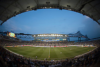 The first half comes to a close during a Major League Soccer game at PPL Park in Chester, PA.  Philadelphia Union tied the Portland Timbers, 0-0.