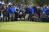 Paul Dunne (IRL) on the 2nd green during Round 2 of the Sky Sports British Masters at Walton Heath Golf Club in Tadworth, Surrey, England on Friday 12th Oct 2018.<br /> Picture:  Thos Caffrey | Golffile<br /> <br /> All photo usage must carry mandatory copyright credit (&copy; Golffile | Thos Caffrey)