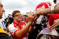 O piloto espanhol Fernando Alonso da equipe Ferrari no GP de Fórmula 1 da Itália, disputado no circuito de Monza, neste domingo (08). (Foto: Pixathlon / Brazil Photo Press).