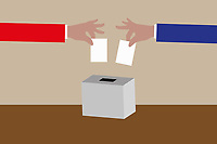 Red and blue arms voting in ballot box election