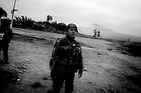Earthquake aftermath. Army units are posted along the roads to protect from looting.Peru.....