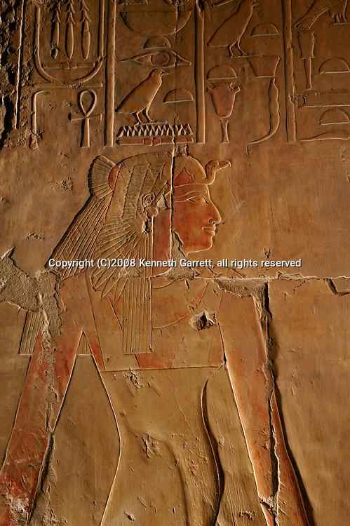Hatshepsut; Egypt; Deir El Bahri; Divine Birth Scene; pregnant; Ahmose; Mother of Hatshepsut; Luxor; West Bank; 18th dynasty; New Kingdom; Temple