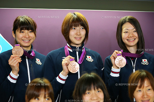 (L to R) Ai Otomo, Maiko Kano, Kaori Inoue (JPN), .AUGUST 12, 2012 - Volleyball : .Press Conference of Bronze Medalist Japan Women's team .at Olympic Park - MPC .during the London 2012 Olympic Games in London, UK. .(Photo by Daiju Kitamura/AFLO SPORT) [1045]
