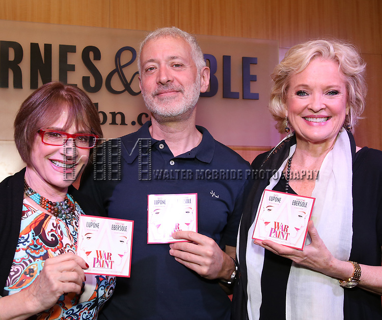 """Patti LuPone, Scott Frankel & Christine Ebersole discuss """"War Paint"""" On Broadway at Barnes & Noble 86th Street on July 14, 2017 New York City."""