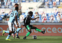 Football, Serie A: S.S. Lazio - Sassuolo, Olympic stadium, Rome, July 11, 2020. <br /> Sassuolo's Jeremie Boga (r) in action during the Italian Serie A football match between S.S. Lazio and Sassuolo at Rome's Olympic stadium, Rome, on July 11, 2020. <br /> UPDATE IMAGES PRESS/Isabella Bonotto
