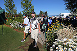 Justin Timberlake heads to the first tee for an American Century Championship practice round at Edgewood Tahoe Golf Course in Stateline, Nev., on Wednesday, July 15, 2015. <br /> Photo by Cathleen Allison
