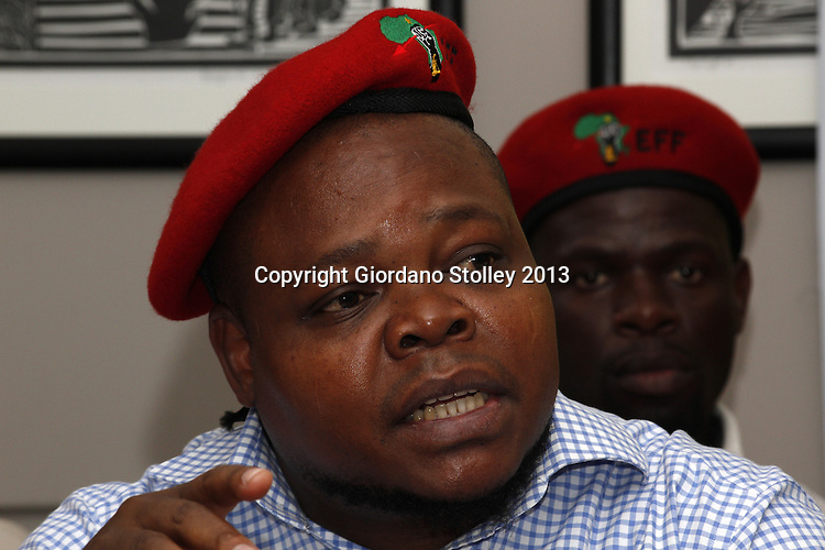 DURBAN - 14 August 2013 - Sipho Mbatha, a member of the National Command Team of the newly formed Economic Freedom Fighters political party speaks at the party's first press briefing in KwaZulu-Natal. EFF was founded by expelled ANC Youth League president Julius Malema. Its key policies include expropriation of land without compensation and the nationalisation of mines and banks among others. Picture: Giordano Stolley