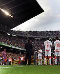 Samuel Eto'o leads Barcelona out on the pitch as Osasuna perform a guard of honour for the Champions. Barcelona v Osasuna (0-1), La Liga, Nou Camp, Barcelona, 23rd May 2009.