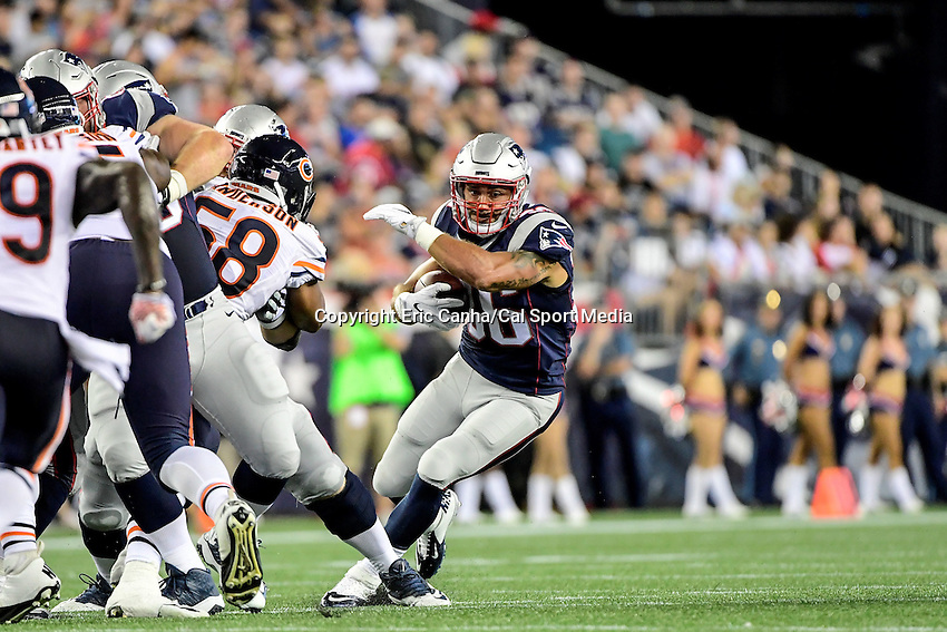 Thursday, August 18 2016: New England Patriots running back Tyler Gaffney (36) tries to cut to the outside during a pre-season NFL game between the Chicago Bears and the New England Patriots held at Gillette Stadium in Foxborough Massachusetts. The Patriots defeat the Bears 23-22 in regulation time. Eric Canha/Cal Sport Media
