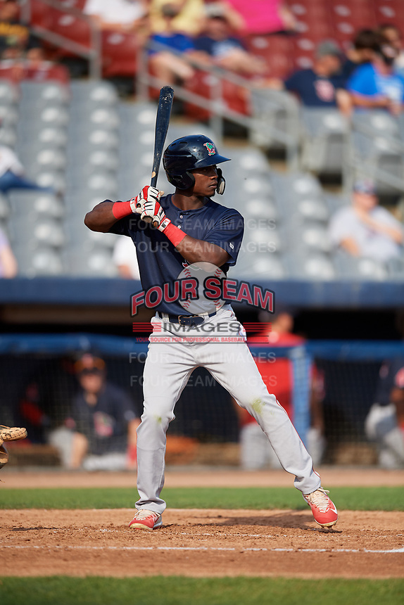 Lowell Spinners right fielder Ramfis Berroa (3) at bat during a game against the Connecticut Tigers on August 26, 2018 at Dodd Stadium in Norwich, Connecticut.  Connecticut defeated Lowell 11-3.  (Mike Janes/Four Seam Images)