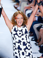 Designer, Diane Von Furstenberg walks the runway at Diane Von Furstenberg Show wearing Google Goggles during Mercedes Benz IMG New York Fashion Week Spring/Summer 2013 at Lincoln Center, New York, NY on September 9, 2012