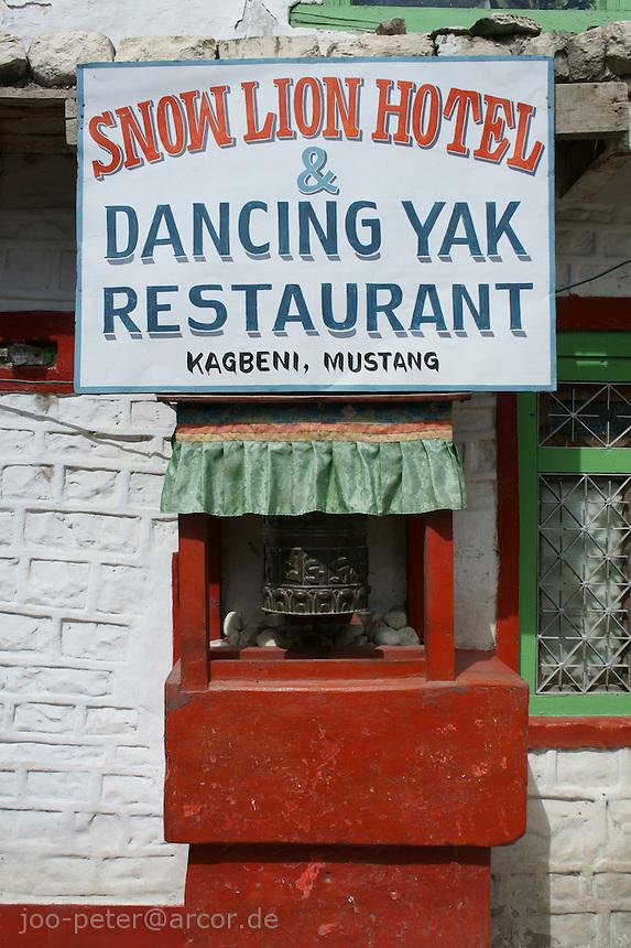 restaurant billboard in Kagbeni village, Upper Mustang area, Himalaya, Nepal, October 2011