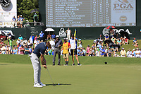 Tommy Fleetwood (ENG) putts on the 18th green during Saturday's Round 3 of the 2017 PGA Championship held at Quail Hollow Golf Club, Charlotte, North Carolina, USA. 12th August 2017.<br /> Picture: Eoin Clarke | Golffile<br /> <br /> <br /> All photos usage must carry mandatory copyright credit (&copy; Golffile | Eoin Clarke)