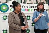 Angela Singhate and Emma Sweeney, Chair and Vice-Chair, at the launch of the Campaign for a Queen's Park Community Council at the Beethoven Centre, West London.