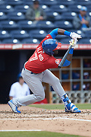 Anthony Alford (7) of the Buffalo Bison tries to check his swing against the Durham Bulls at Durham Bulls Athletic Park on April 25, 2018 in Allentown, Pennsylvania.  The Bison defeated the Bulls 5-2.  (Brian Westerholt/Four Seam Images)