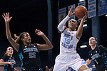 21 November 2013: North Carolina's Allisha Gray (15) and Coastal Carolina's Alexx Puckett (25). The University of North Carolina Tar Heels played the Coastal Carolina University Chanticleers in an NCAA Division I women's basketball game at Carmichael Arena in Chapel Hill, North Carolina. UNC won the game 106-52.