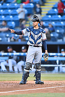 Rome Braves catcher Drew Lugbauer (15) signals the team during a game against the Asheville Tourists at McCormick Field on April 17, 2018 in Asheville, North Carolina. The Tourists defeated the Braves 1-0. (Tony Farlow/Four Seam Images)