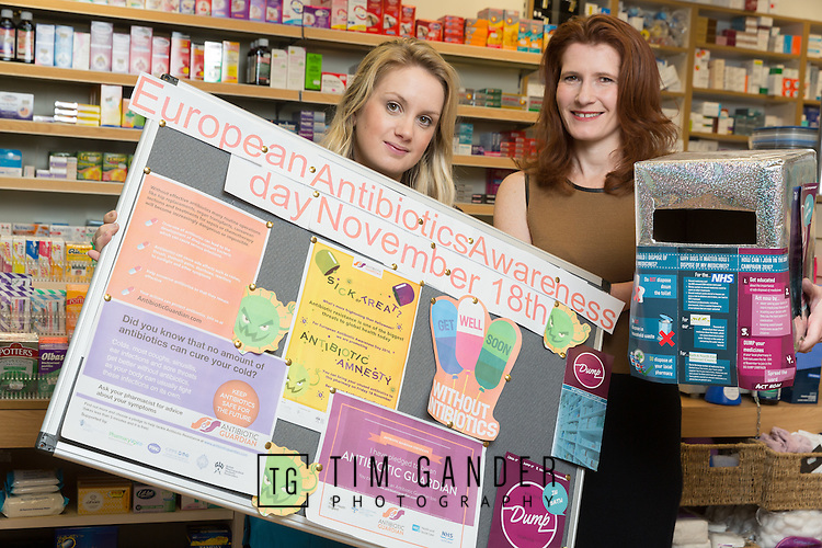 21/11/2016 Stock image for NHS Bath and North East Somerset Clinical Commissioning Group.<br /> <br /> Pharmacist and owner of the Bear Flat pharmcay in Bath, Helen Darvill (right) with dispensing assistant Kaylie Foster, who made a European Antibiotics Awareness Day board and amnesty box (into which people can deposit un-used antibiotics).<br /> <br /> Photo &copy; Tim Gander 2016. All rights reserved.