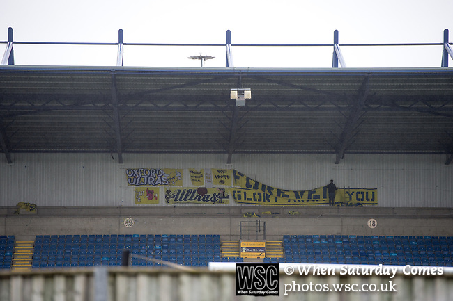 Oxford United 1 Accrington Stanley 2, 20/02/2016. Kassam Stadium, League Two. The Oxford Ultras set up their banners hours before kick off. Oxford's home ground is the Kassam Stadium in Oxford and has a capacity of 12,500. United moved to the stadium in 2001 after leaving the Manor Ground, their home for 76 years. Photo by Simon Gill.