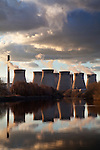 Ferrybridge Power Station Reflected in the River Aire Knottingley West Yorkshire England