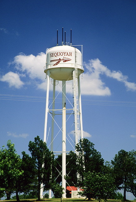 Sequoyah High School proudly displays Sequoyah's name on a large tower in front of the school in Tahlequay Oklahoma