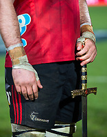 Sam Whitelock captain of the Crusaders holds a sword following the final whistle in the 2018 Super Rugby final between the Crusaders and Lions at AMI Stadium in Christchurch, New Zealand on Sunday, 29 July 2018. Photo: Joe Johnson / lintottphoto.co.nz