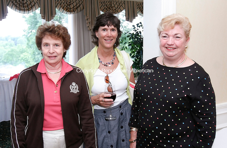WATERBURY, CT 06/08/09- 060809BZ13- From left- Jo Ann Cappellitti, of Middlebury, Liz Widman, of Southbury, committee member, and Marna Murtha, of Middlebury, committee member<br /> during the Dorothy Hamill Women Fore Women Golf Tournament at the Country Club of Waterbury Monday.<br /> Jamison C. Bazinet Republican-American
