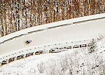 4 December 2015: Chris Mazdzer, sliding for the United States of America, enters a curve during his first run of the Viessmann Luge World Cup at the Olympic Sports Track in Lake Placid, New York, USA. Mazdzer ended the day with a combined runtime of 1:42.808 for a first place finish. Mandatory Credit: Ed Wolfstein Photo *** RAW (NEF) Image File Available ***